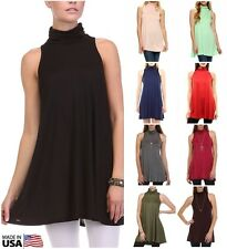 USA Womens Sleeveless Mock Turtleneck Tunic Dress A-line Top Plain Rayon S M L