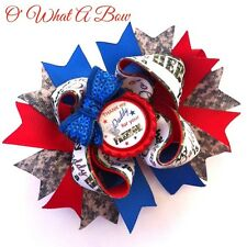 Military Baby Hair Bow Air Force Army Dad Daddy Daughter Girl Hairbow Camo Red