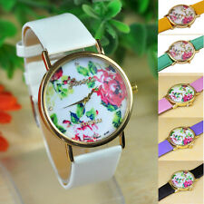1PC Fashion Women Leather Rose Flower Watch Quartz wrist Watches unique Gift NEW