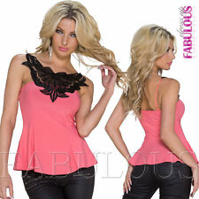 New Sexy Womens Top Size 10 4 6 8 Crochet Shirts Blouse Evening Party Summer S M