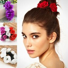 Womens Charm Bun Garland Floral Head Knot Hair Top Scrunchie Band Elastic Bridal