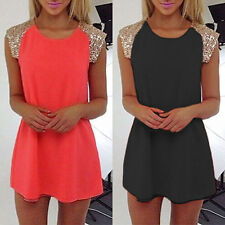 Ladies Chiffon Long Top Blouse Summer Boho Sleeveless Mini Dress Casual Beach