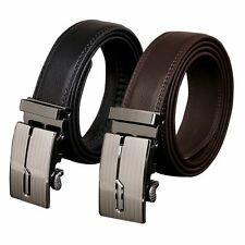 Fashion Genuine Leather Mens Black Brown Alloy Automatic Buckle Waist Strap Belt