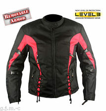 Xelement 426 Womens Red Black Tritex Level 3 Vented Armored Motorcycle Jacket