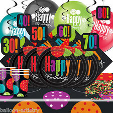 Deluxe Birthday 30th - 80th Cheer Celebration Complete Party Supplies Pack For 8
