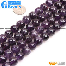 Natural Purple Amethyst Gemstone Faceted Round Beads Free Shipping Strand 15""