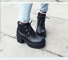 New Womens Black Punk Gothic Lace Up Chunky Heels High Platform Ankle Boot Shoes
