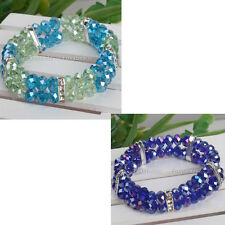 Women 2-ROW Crystal Glass Faceted Beads Wrap Charms Bracelet Bangle Jewelry Gift
