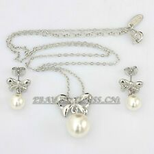 Fashion Bowknot Pearl White Gold Plated Earrings & Necklace Jewelry Set 18KGP