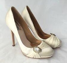 BADGLEY MISCHKA Odell Ivory Satin Bridal Heels with Rhinestone Detail