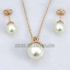 A1-S044 Fashion Solitaire Pearl Earrings Necklace Jewelry Set 18KGP