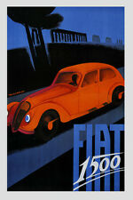Antique Fiat 1500 Automobile Car Italy Vintage Poster Repro FREE S/H