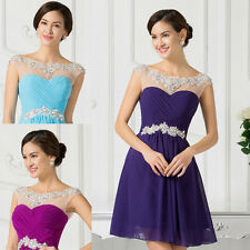 Purple Beaded Bridesmaid Cocktail Evening Prom Dress SIZE 6 8 10 12 14 16 18 20