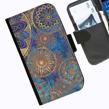 Floral BlueBronz Leather wallet phone case for iPhone Samsung Huawei Blackberry