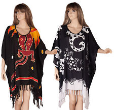 Ladies Kaftan Long Tunic Poncho dress Navy Blue Top plus size 18 20 22 24 BOHO