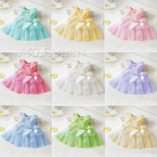 New Style Girls Baby Kids Toddler Pageant Princess Lace Tutu Bow Flower Dress