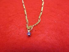 """14 KT GOLD PLATED 10 1/2"""" 2MM FIGARO CHAIN ANKLET W/ AUSTRIAN CRYSTAL BIRTHSTONE"""