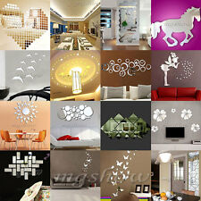 Fashion Silver Acrylic 3D Mirror Effect Wall Stickers Home Decor Vinyl Stickers