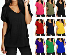New Womens Baggy Loos Fit Top Ladies Turn Up Short Sleeve Top T Shirt Plus Size