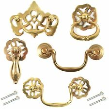 POLISHED BRASS Pull Handles & Screws Cabinet Cupboard Drawer Fancy Swing Drop