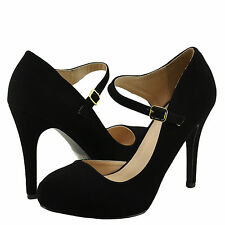 Women's Shoes Qupid Waltz 30 Almond Toe Open Shank Classic Pump Black *New*