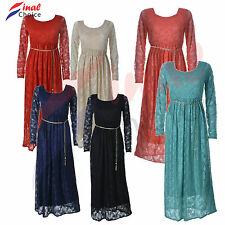 New Ladies Lace Chain Belted Long Sleeve  Maxi Dress Abaya Gown One Size 8-14