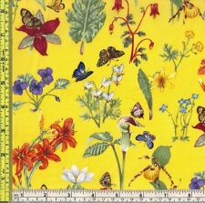 American Greetings Butterflies & Flowers David Textiles 100% Cotton Fabric BTQY