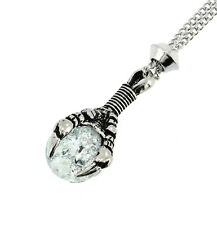 Handmade Dragon Claw Clear Cracked Glass Sphere Pewter Chain Pendant
