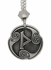 Norse Viking Rune of Thors Thurisaz 3rd Runic Letter Pewter Chain Pend