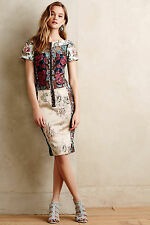 NWT ANTHROPOLOGIE BEGUILE by BYRON LARS Pieced Brocade Dress 2 (Blue Motif) $268