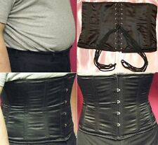 Crossdresser Real Steel Boned Strong Corset Waist Cincher Black Satin Brand New