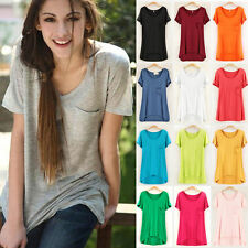 Summer Sexy Fashion Women Casual Short Sleeve Tops Cotton T- Shirt Tops Blouses
