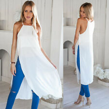 2015 Sexy Split Slim Summer Dress Women Chiffon Gallus Sleeveless Beach Dress