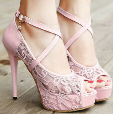 Womens Lace Open Toe Stiletto High Heel New Ankle Strap Party Wedding Bride Shoe