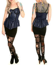 new Lip Service leopard peplum cami dress skirt black blue Gothic punk rock M, L