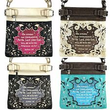 Western Cowgirl Bible Verse Joshua 1:9 Rhinestone Cross PU Leather Messenger Bag