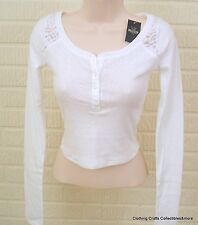 Hollister Emerald Cove Lace Back Cropped Henley White Sz Large NWT
