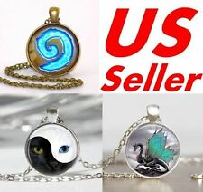 Yin Yang Cat, WoW World of Warcraft, Blue Dragon Pendant Necklace W Chains