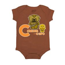 Star Wars C is for Chewie & C-3PO Baby Infant Creeper Romper - Brown