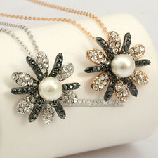Fashion Gorgeous Pearl Flower Necklace Pendant Jewelry 18KGP Rhinestone Crystal