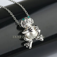 Fashion Pearl Frog Necklace & Pendant 18KGP Crystal Rhinestone