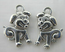 wholesale 30/100pcs lovely auspicious Tibet silver dog charms pendant 17x12mm