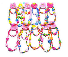 C8 US 1 Set Children Bracelets Jewelry Necklace ButterFly Wood Bead Necklace
