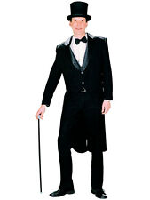 Mens Adult Black Tailcoat Victorian Charlie Chaplin Gents Circus Ringmaster New