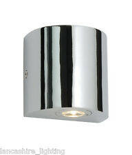 SAXBY CHROME BATHROOM WALL LIGHT IN LED IN SINGLE OR DOUBLE