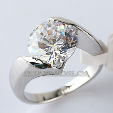 Fashion Solitaire Engagement Ring 18KGP Rhinestone Crystal CZ Size 5.5-6.5