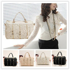 Fashion Korean Women PU Leather Messenger Bag Tote Shoulder Lace Handbag k0709