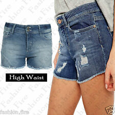 Ladies Womens Girls Vintage HIGH WAIST Denim Hot Pants Jeans Light Wash Shorts