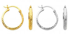 14k Yellow White Gold 3mm Thick Diamond Cut Hinged Hoop Earrings 25mm Diameter