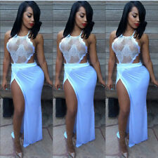 Women Sexy Lace Crochet Mesh Sheer Trutlenneck Bodycon Club Cocktail Party Dress